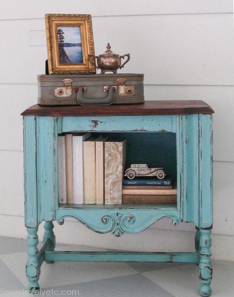 aqua painted vintage radio cabinet