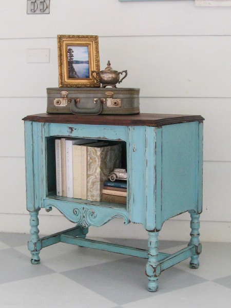 aqua upcycled radio cabinet - My Favorite Little Aqua Redo - Lovely Etc.