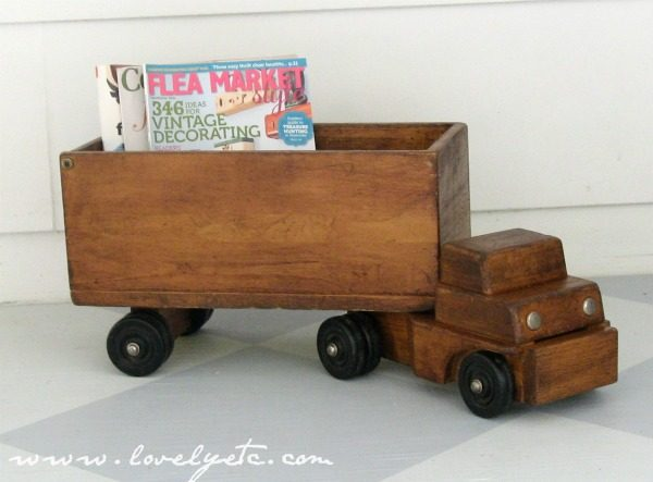 vintage toy truck upcycled as magazine holder