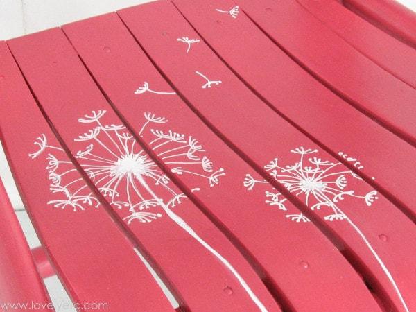 white dandelions drawn with paint pen