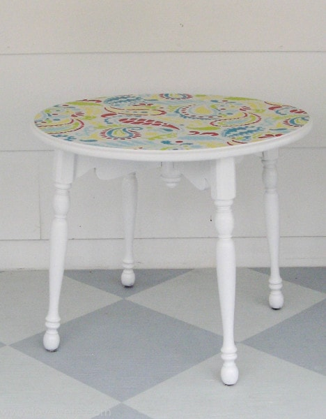 small white table with paisley painted top