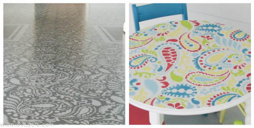 Paisley stencil two ways monochromatic and colorful