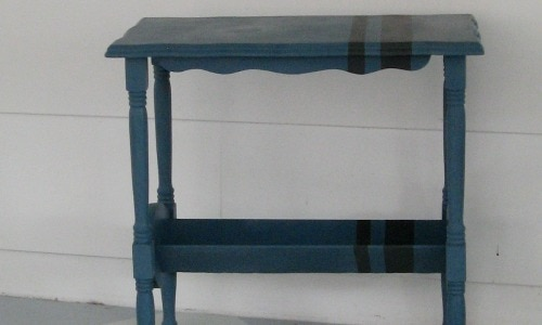 A More Manly Redo – Blue Striped Table