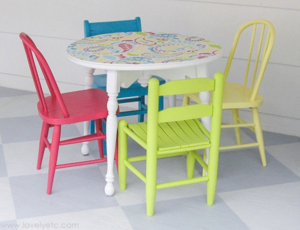 Colorful Stenciled Kids Table And Chairs