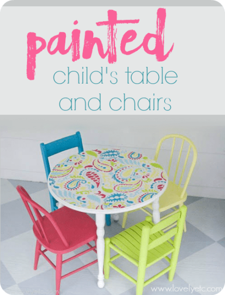 Painted Childu0027s Table And Chairs