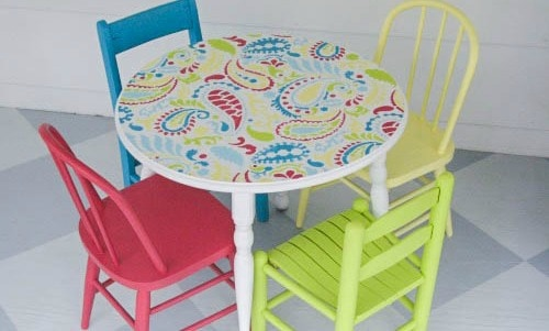 Colorful painted child's table and chairs