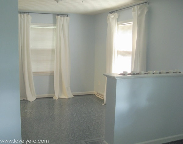 dining room with diy curtain rods