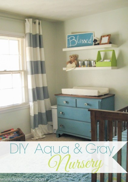 aqua and gray nursery