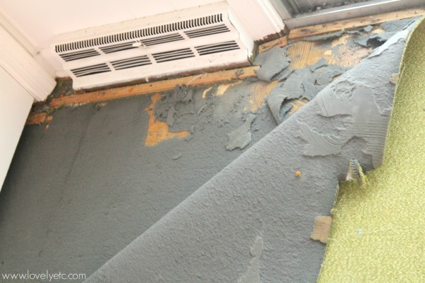 how to remove old glued carpet with black foam backing