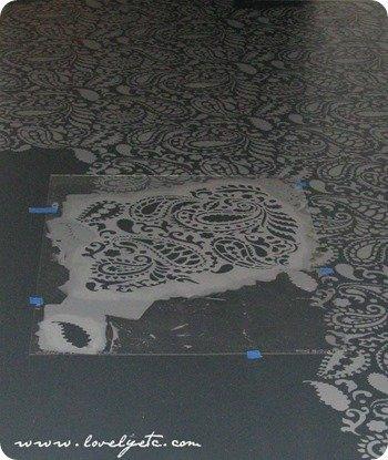 paisley floor stencil