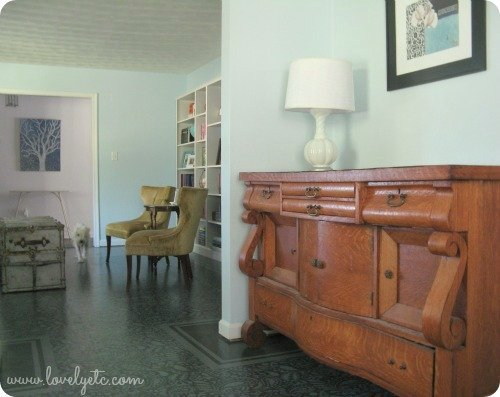 antique buffet, painted floors, built in bookcases