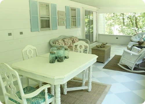 blue and white painted screened porch