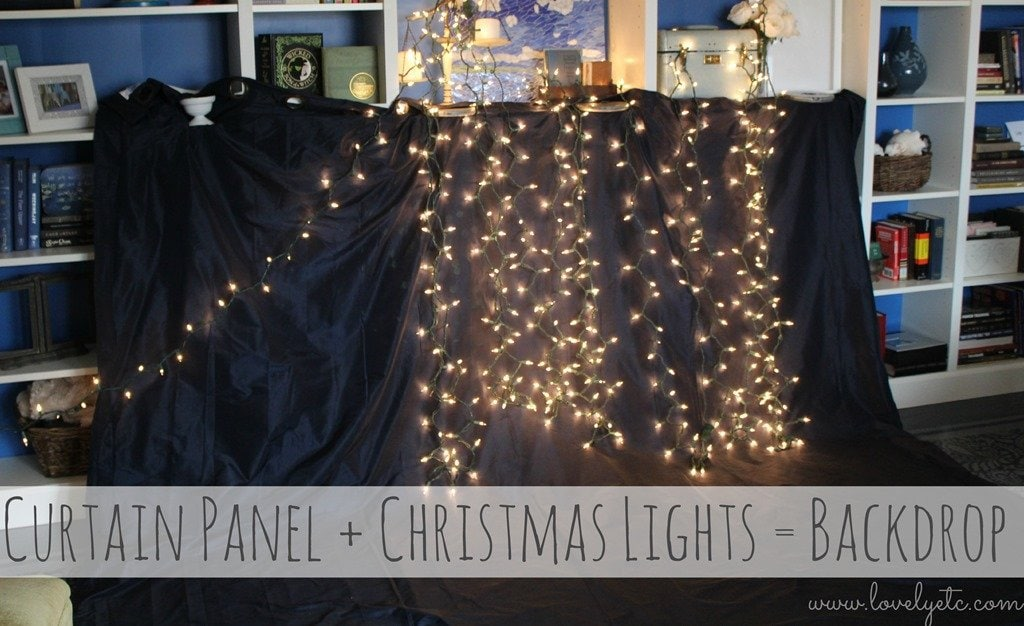 Curtain Panel Plus Christmas Lights Equals Backdrop