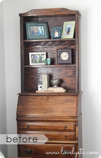 Basic secretary desk with hutch  before