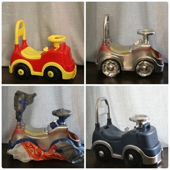 Spray painting a toy car - steps