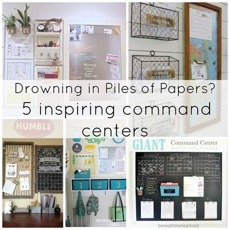 drowning in piles of papers - check out these five inspiring family command centers