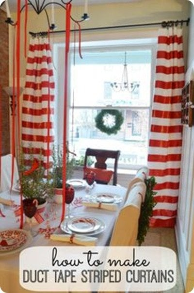 duct tape striped curtains from Home Stories A to Z