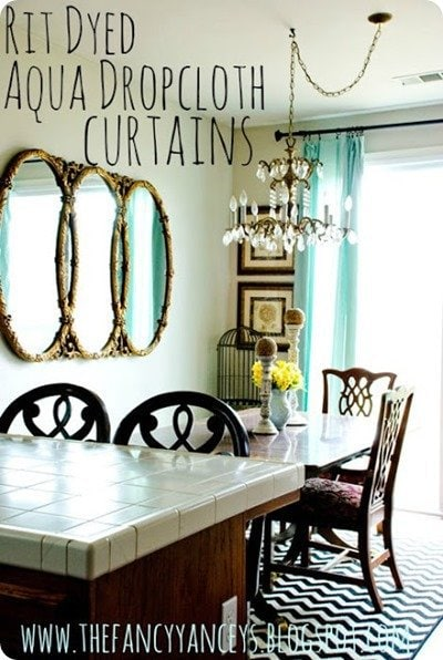 dyed aqua curtains from vintage romance