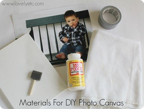 DIY photo canvas materials - canvas, foam brush, photo, canvas fabric, mod podge, duct tape