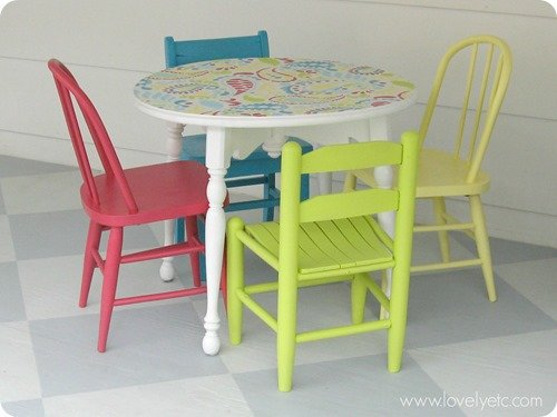 colorful kids table and chairs 2