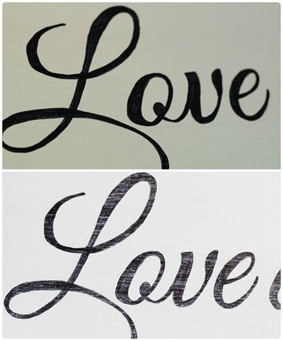 Sharpie writing pre and post sanding