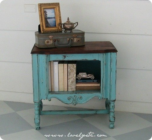 painted vintage radio cabinet