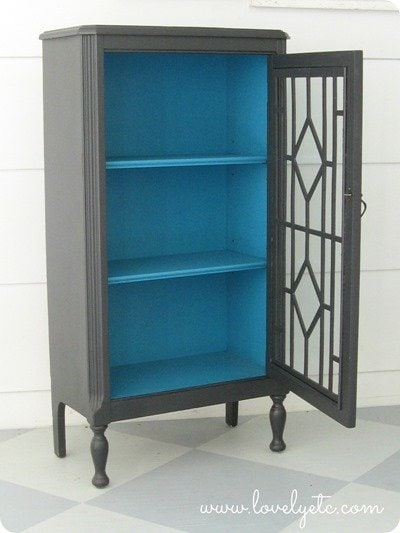 charcoal and turquoise cabinet