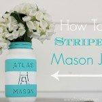Aqua Striped Mason Jar