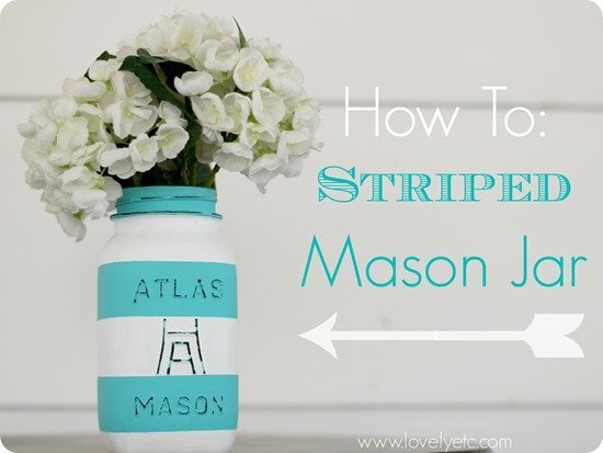 how to - painted striped ball jar