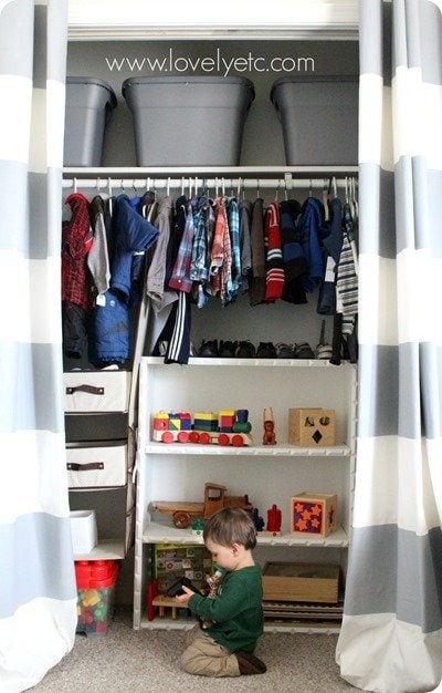 nursery closet full of storage