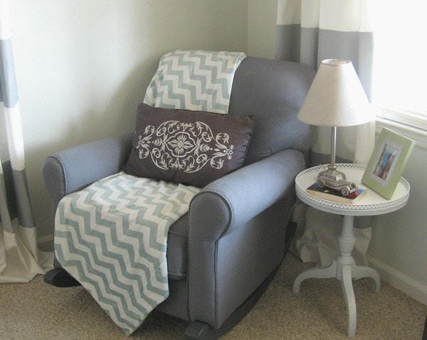 reupholstered nursery glider