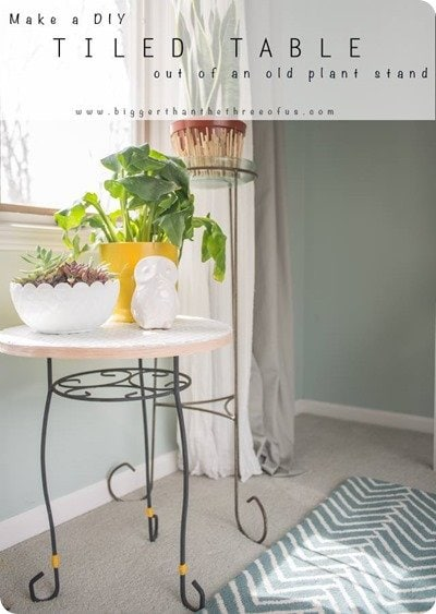 DIY tiled table from planter