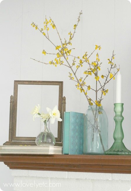 aqua and green spring mantel