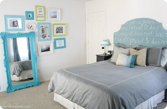 blue, green, and gray master bedroom