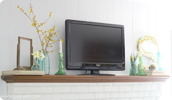 fresh, simple spring mantel