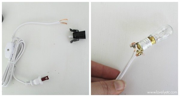 Connecting the candelabra cord to the keyless socket