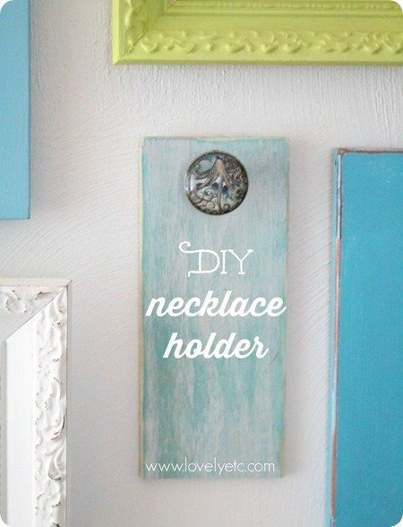 DIY necklace holder made from old jewelry