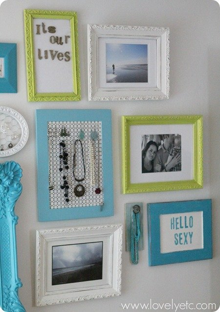 DIY necklace holder on gallery wall