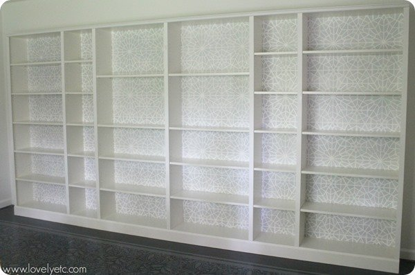 Stencilled bookcase backs