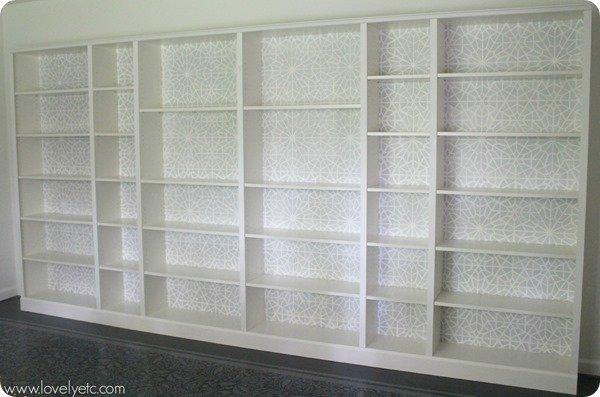 Stencilled bookcase backs