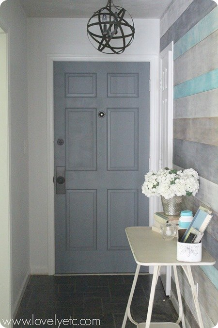 front door makeover - charcoal paint and oil rubbed bronze hardware