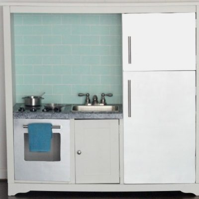 DIY play kitchen from an entertainment center