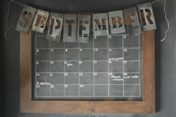 upcycled calendar and family command center