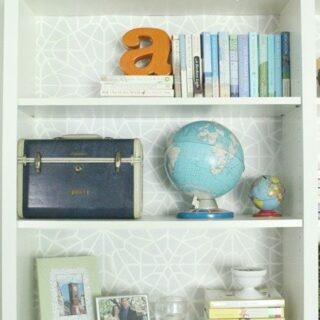 diy stenciled bookcase