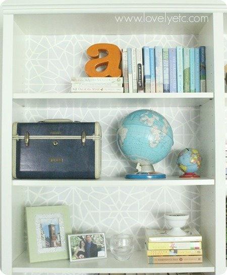 stenciled bookcase back