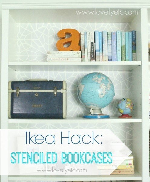 stenciled bookcase backing
