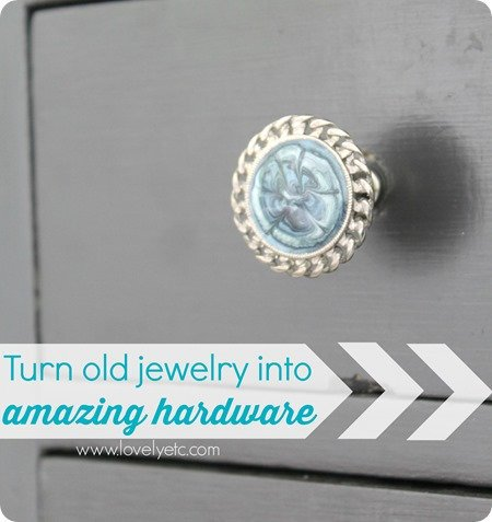 turn old jewelry into drawer hardware