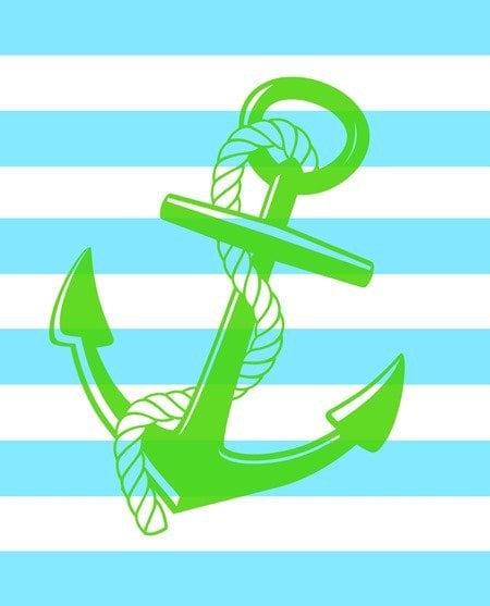 free aqua and green anchor printable