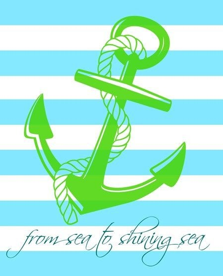 free printable aqua and green anchor with from sea to shining sea