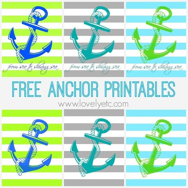 Coastal free printables. 6 different designs of free anchor printables with beautiful coastal blues, grays, and greens From sea to shining sea patriotic printables perfect for Memorial Day or the fourth of July.